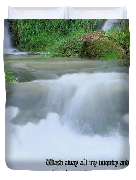 Psalm 51 2 Duvet Cover by Kristin Elmquist