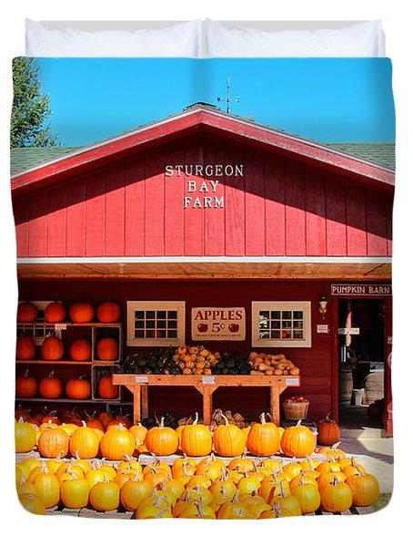 Pumpkin Barn Duvet Cover by Rachel Cohen