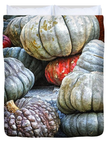 Pumpkin Pile II Duvet Cover by Joan Carroll