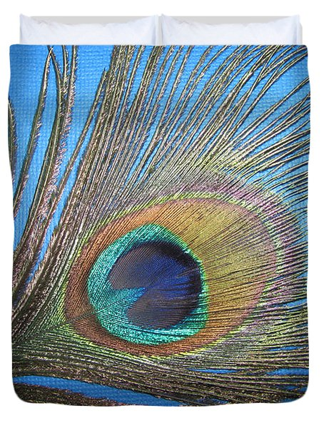 Purdy As A Peacock Duvet Cover by Kathy Clark