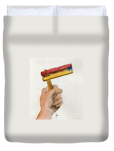 Purim rattle  Duvet Cover by Annemeet Van der Leij