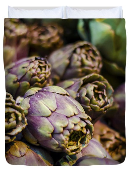 Purple Artichokes At the Market Duvet Cover by Heather Applegate