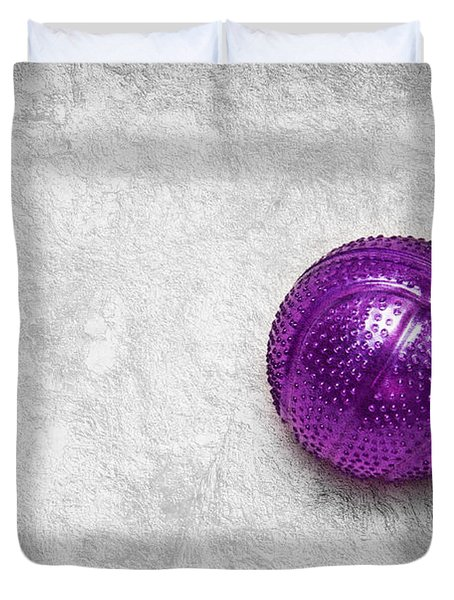 Purple Ball Cat Toy Duvet Cover by Andee Design