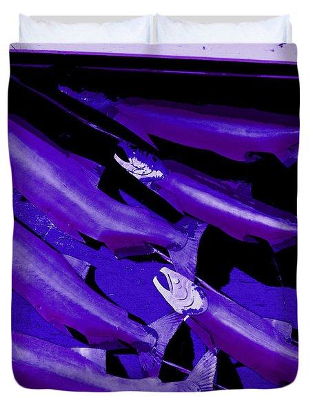 Purple Fish Art Duvet Cover by Kym Backland