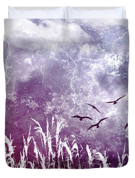 Purple Skies Duvet Cover by Ellen Heaverlo