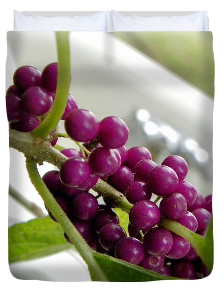 Purples And Greens Duvet Cover by Tisha  Clinkenbeard