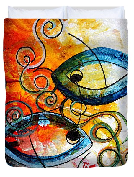 Purposeful Ichthus By Two Duvet Cover by J Vincent Scarpace