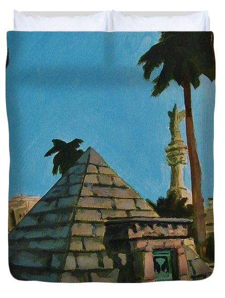 Pyramid Tomb In Cemetary Duvet Cover by John Malone