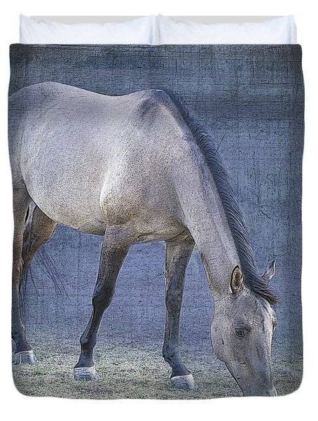 Quarter Horse In Blue Duvet Cover by Betty LaRue