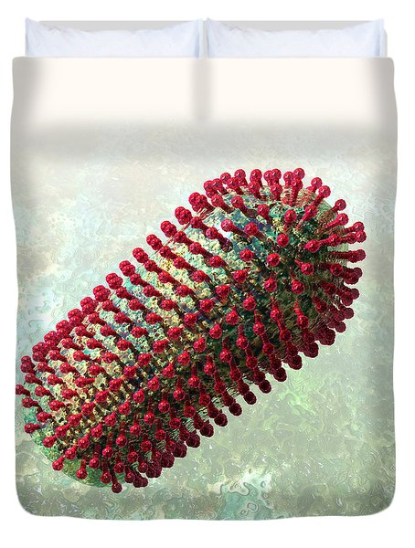 Rabies Virus 2 Duvet Cover by Russell Kightley