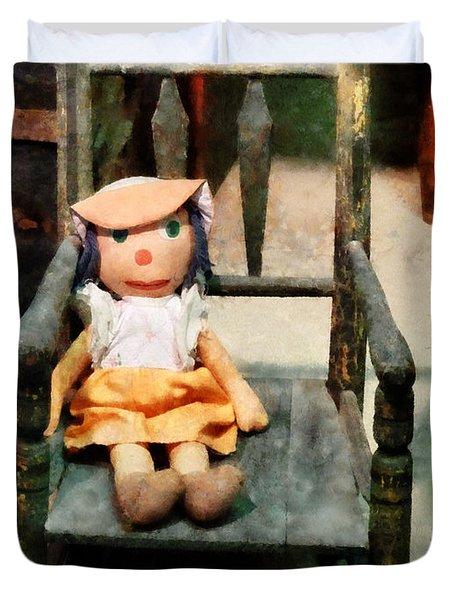 Rag Doll In Chair Duvet Cover by Susan Savad