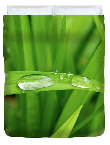 Rain Drops On Grass Duvet Cover by Trever Miller