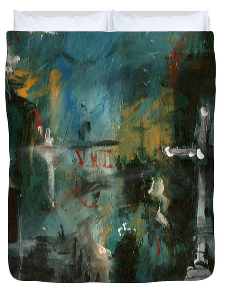 Rain In The Night City Duvet Cover by David Finley