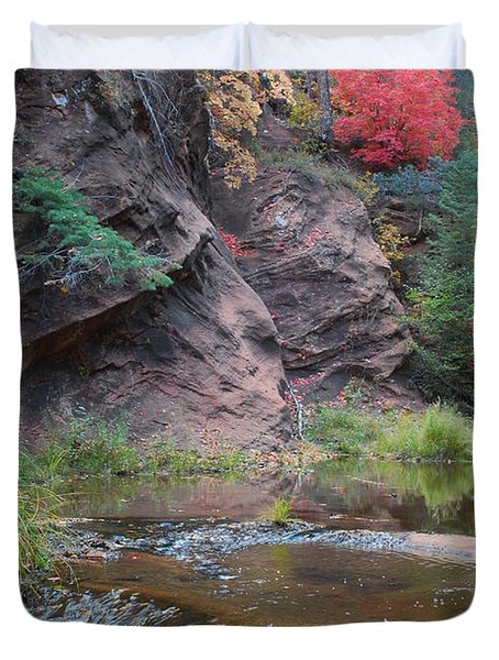 Rainbow Of The Season And River Over Rocks Duvet Cover by Heather Kirk