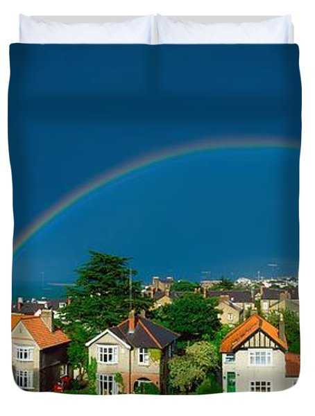 Rainbow Over Housing, Monkstown, Co Duvet Cover by The Irish Image Collection