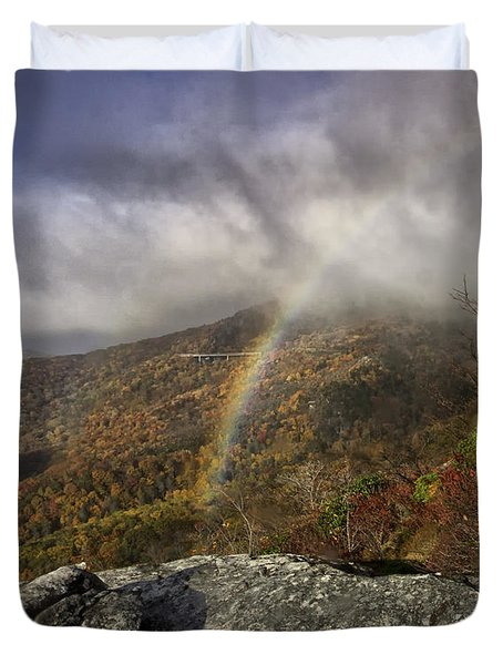 Rainbow over Rough Ridge - NC Autumn Scene Duvet Cover by Rob Travis