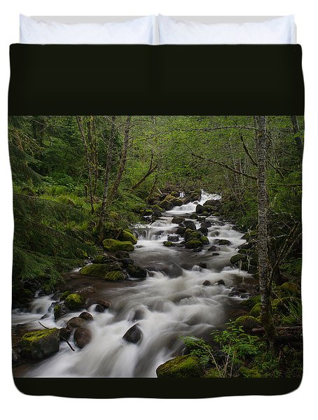 Rainier Forest Flow Duvet Cover by Mike Reid