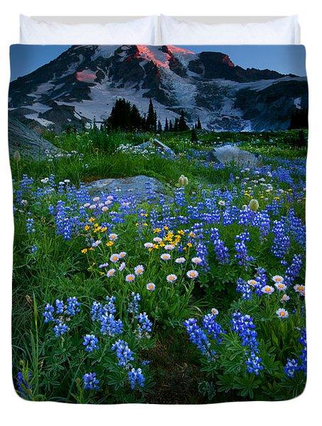 Rainier Wildflower Dawn Duvet Cover by Mike  Dawson