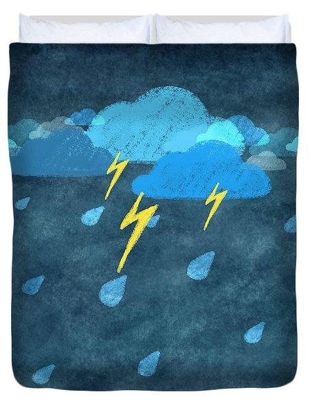 rainy day with storm and thunder Duvet Cover by Setsiri Silapasuwanchai