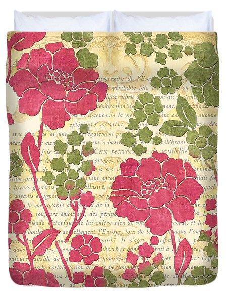 Raspberry Sorbet Floral 1 Duvet Cover by Debbie DeWitt