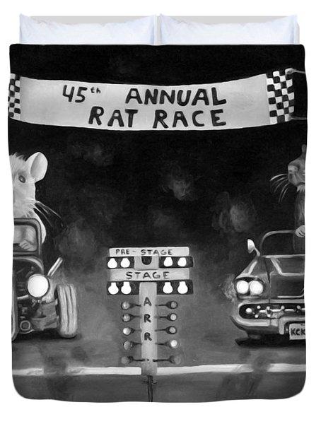 Rat Race Black And Wht Darker Tones Duvet Cover by Leah Saulnier The Painting Maniac