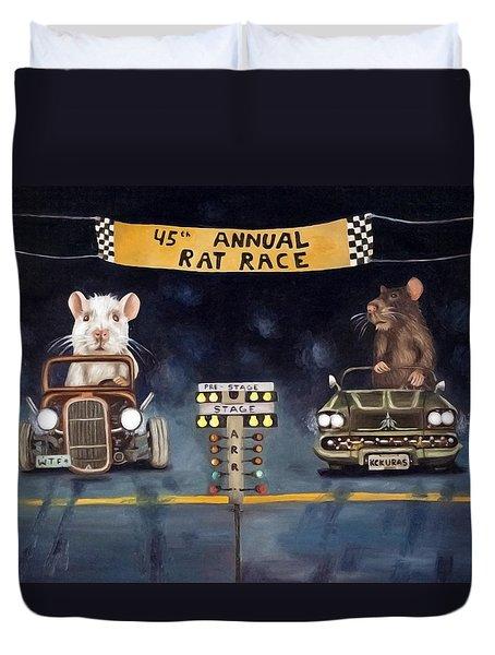 Rat Race Darker Tones Duvet Cover by Leah Saulnier The Painting Maniac