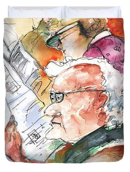 Reading The News 07 Duvet Cover by Miki De Goodaboom