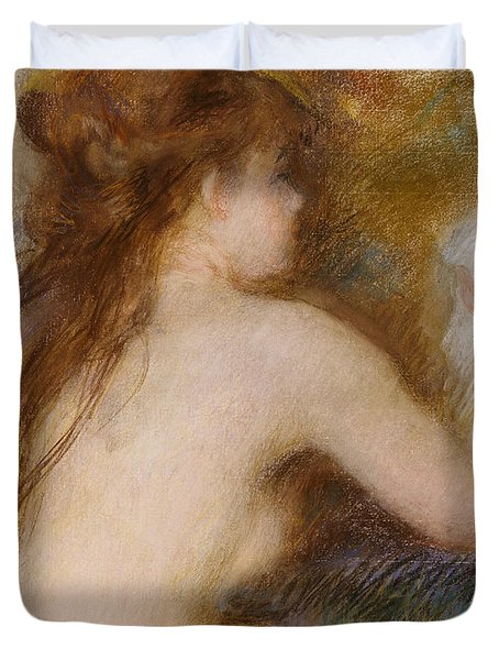 Rear View Of A Nude Woman Duvet Cover by Pierre Auguste Renoir
