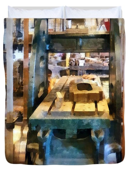 Reciprocating Flatbed Planer Duvet Cover by Susan Savad