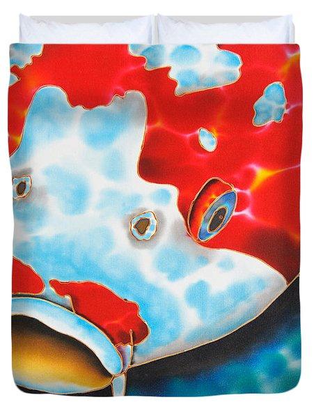 Red And White Koi     Duvet Cover by Daniel Jean-Baptiste