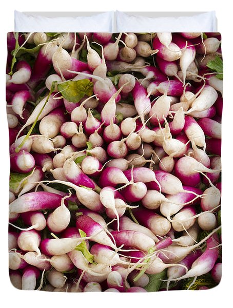 Red and White radishes Duvet Cover by John Trax