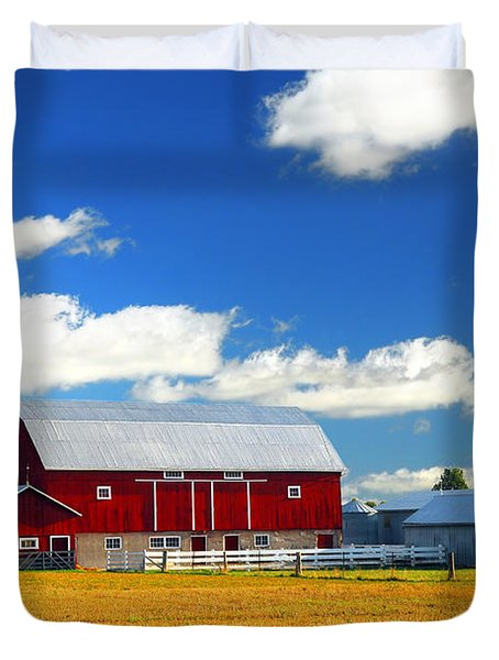 Red Barn Duvet Cover by Elena Elisseeva