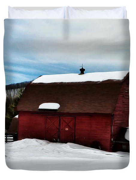 Red Barn in the Snow Duvet Cover by Bill Cannon