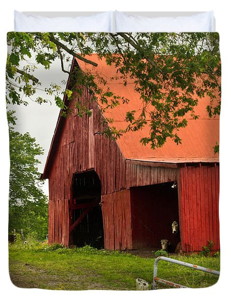 Red Barn with Orange Roof 1 Duvet Cover by Douglas Barnett