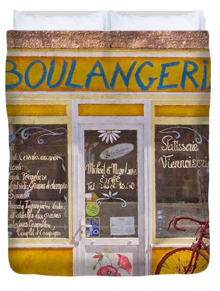 Red Bike at the Boulangerie Duvet Cover by Debra and Dave Vanderlaan