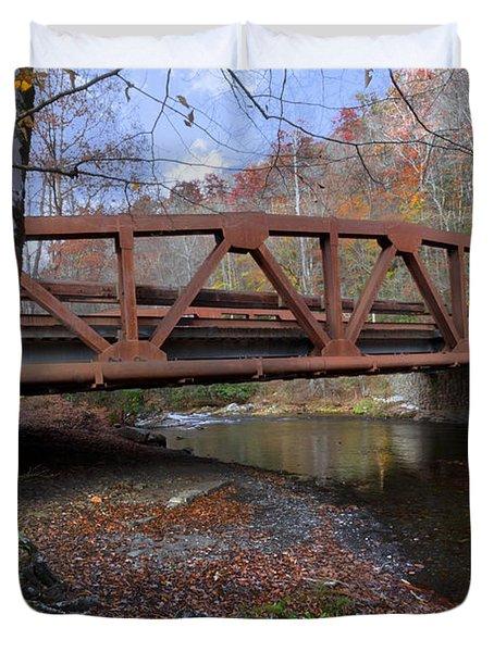 Red Bridge Duvet Cover by Debra and Dave Vanderlaan