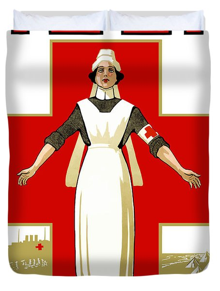 Red Cross Help Duvet Cover by War Is Hell Store