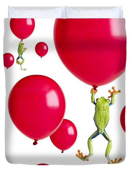Red-eyed Treefrogs Floating On Red Duvet Cover by Corey Hochachka