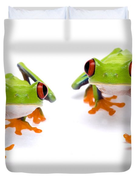 Red-eyed Treefrogs Walking Duvet Cover by Mark Bowler and Photo Researchers