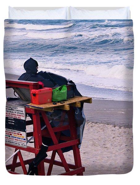 Red Flag Day Duvet Cover by Roger Wedegis