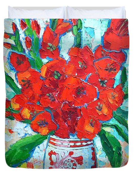 RED GLADIOLUS Duvet Cover by ANA MARIA EDULESCU