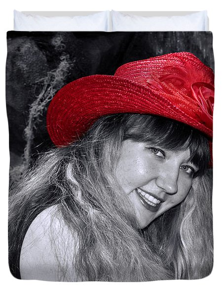 Red Hat And A Blonde Black And White Duvet Cover by Mariola Bitner