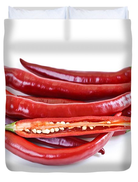 Red hot chili peppers Duvet Cover by Elena Elisseeva