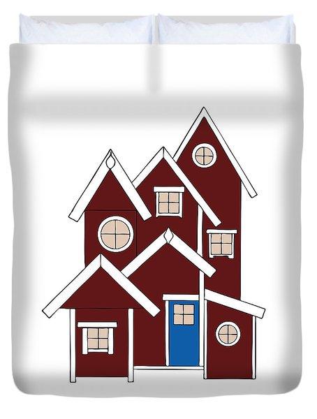 Red Houses Duvet Cover by Frank Tschakert