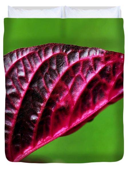 Red Leaf Duvet Cover by Kaye Menner