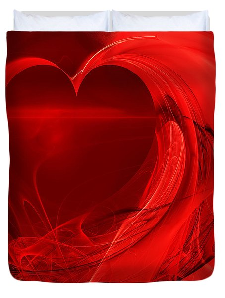 Red Love . Square . A120423.279 Duvet Cover by Wingsdomain Art and Photography