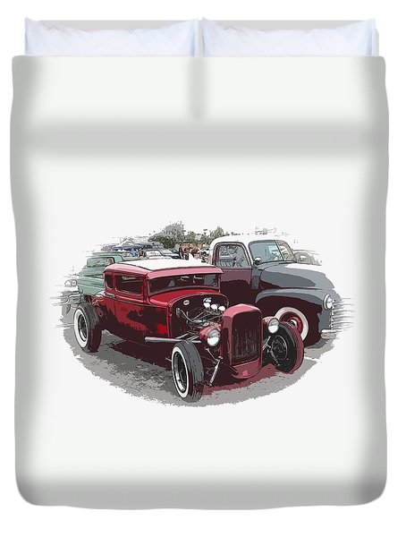Red Model A Coupe Duvet Cover by Steve McKinzie