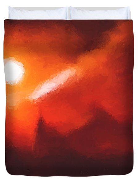 Red Mountains Duvet Cover by Pixel Chimp