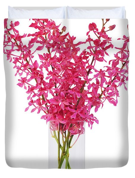 red orchid in vase Duvet Cover by ATIKETTA SANGASAENG