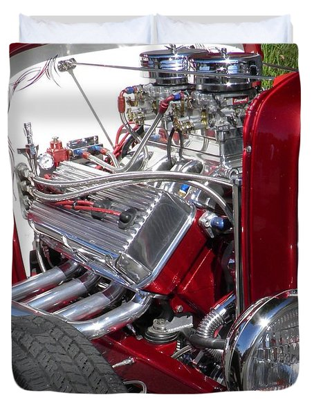 Red Roadster Hot Rod Fine Art Photo Duvet Cover by Sven Migot